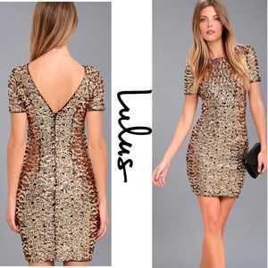 Lulu's Nights on Broadway Gold Sequin Bodycon S